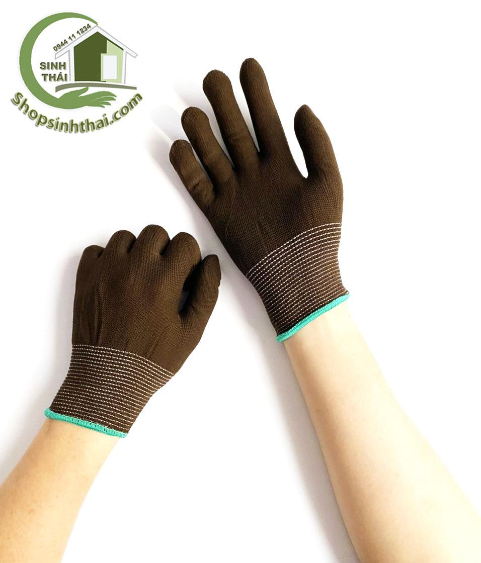 [HCM]Găng tay thun co giãn làm việc bao tay làm vườn sửa chữa dọn dẹp - Thun trơn màu nâu...