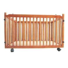 Cũi gỗ có bánh xe cho bé yêu ( Màu gỗ ) – Tặng kèm 1 gối cao su non