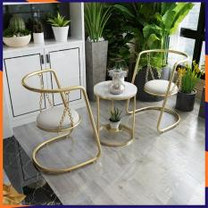 Bộ bàn ghế ban công ngoài trời, bộ bàn ghế xích đu, bộ bàn cafe kèm 2 ghế xích đu chất liệu thép không gỉ