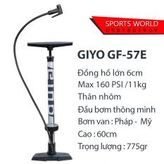 Bơm xe đạp 160psi/11kg, đồng hồ cao, thân NHÔM hàng Đài Loan GIYO GF-57E