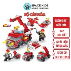 Đồ chơi trẻ em Xếp hình Lego 6 trong 1 xe Cứu hỏa Lele Brother, ghép hình lego giá rẻ Space Kids