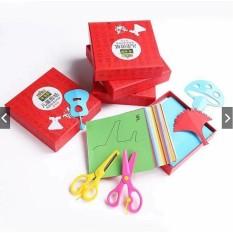 Bộ giấy thủ công in sẵn 120/ 240 hình kèm 1 kéo cắt giấy giúp bé luyện đôi tay khéo léo (có 2 loại)