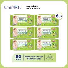 Combo 6 khăn giấy Unifresh Baby Aloe Vera (80 miếng)