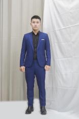 Bộ vest nam 1 nút ôm body màu xanh coban sọc gân trắng tặng kèm combo phụ kiện