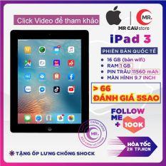 ( Free vocher 100k 16-23/09) Máy tính bảng Apple iPad 3 – ( bản Wifi ) 32G/16G Quốc Tế, Ram 1 G, Full HD, Pin trâu 11000 mah, tặng củ zin iPad 12W phụ kiện và ốp lưng MR CAU