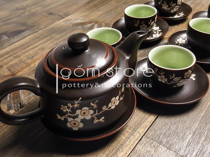 Ấm trà Bát Tràng dáng trúc vẽ chìm mai trắng(Bộ ấm chén trên không kèm khay,)