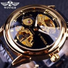 Đồng hồ nam sang trọng dây da chi tiết vàng thanh lịch thích hợp nam doanh nhân