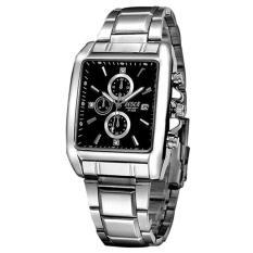 (Hot 2019) Đồng hồ nam dây thép không gỉ thời trang mặt vuông Bosck 3133