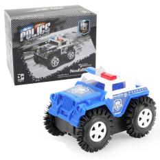 Xe ô tô đồ chơi chạy pin,xe cảnh sát cho bé, chạy bằng pin tiểu (màu xanh trắng-chưa kèm pin) nhựa ABS an toàn