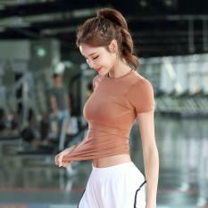 Áo Tập Gym Nữ Yoga Body Fit AMI MEDEA Chất Dệt Kim, Đồ Tập Thể Thao Aerobic Nữ Bó Sát Siêu Thấm Hút Mồ Hôi Áo Thun Tập Gym Nữ