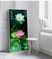 Tranh treo tường hoa sen hiện đại in trên canvas có khung, trang trí phòng khách, phòng ngủ (#10013016)