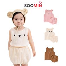 Bộ đũi bé gái mặt gấu mùa hè QATE Y4 Soomin cho trẻ em từ 1 đến 2 tuổi