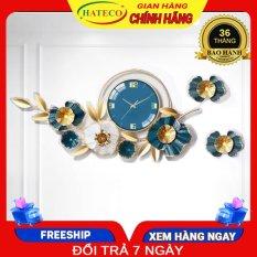 Đồng hồ trang trí phòng khách đẹp HATECO hình cành hoa xanh TT2106X, mẫu đồng hồ treo tường sang trọng phù hợp với trang trí nội thất phòng khách, trang trí phòng ngủ, làm quà tặng, mừng tân gia, mừng đám cưới