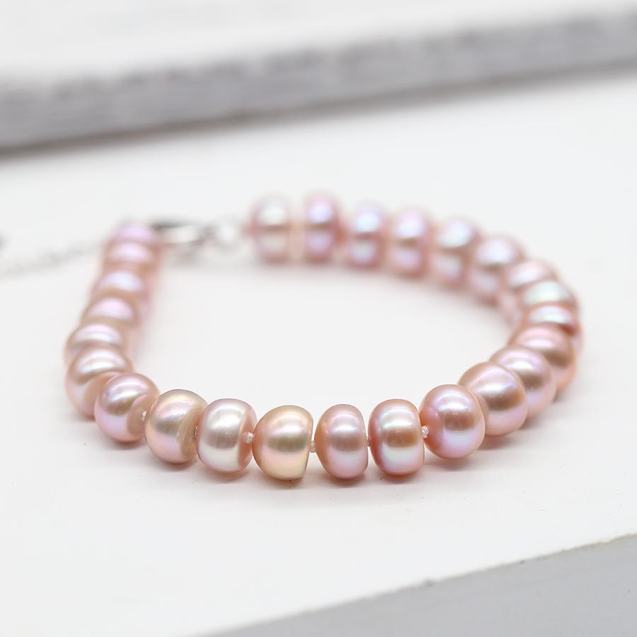 Lắc Tay Ngọc Trai Nước Ngọt Tự Nhiên cỡ hạt 6-7 ly có 2 màu trắng tím Bảo Ngọc Jewelry [Ảnh Thật]