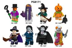 PG8171 – Đồ chơi lắp ráp mô hình minifigure và non lego các nhân vật Kinh Dị phiên bản Haloween- Bí ngô, phù thủy