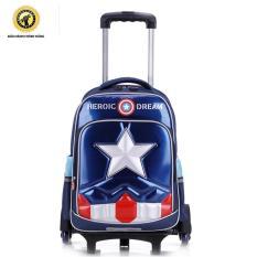Ba lô kéo lướt trên mọi địa hình 6 bánh xe Captain America Học sinh tiểu học Tặng áo cặp