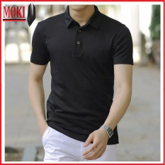 Áo thun nam MOKI cổ bẻ hàng xuất dư, áo phông nam có cổ chất cotton co giãn thấm hút mồ hôi, dáng ôm thời trang