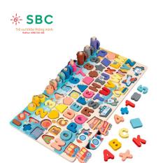[HCM]Bảng c&acircu c&aacute đa năng k&egravem chữ c&aacutei tiếng anh kết hợp học số học h&igravenh – đồ chơi gỗ