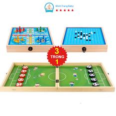 Đồ chơi thông minh bộ cờ đa năng 3 trong 1 cờ búng, cờ caro, cờ cá ngựa bằng gỗ cao cấp cho bé