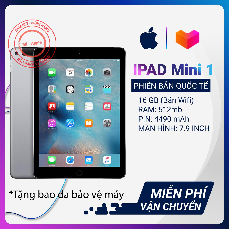 iPad mini 1 7.9 inch quốc tế chính hãng- Tặng bao da củ sạc dây sạc Bảo hành 6 tháng