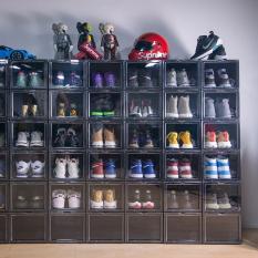 (SIZE LỚN) Hộp đựng giày sneaker BOX full đen cá tính,nhựa cứng cao cấp