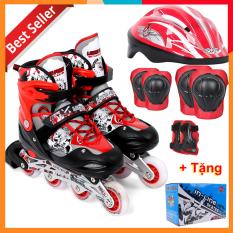 Bộ Giày Patin Longfeng 3 in 1 , giày trượt patin đầy đủ bảo hộ chân tay và mũ chính hãng tặng kèm hộp vàn bộ ốc vít màu Đỏ