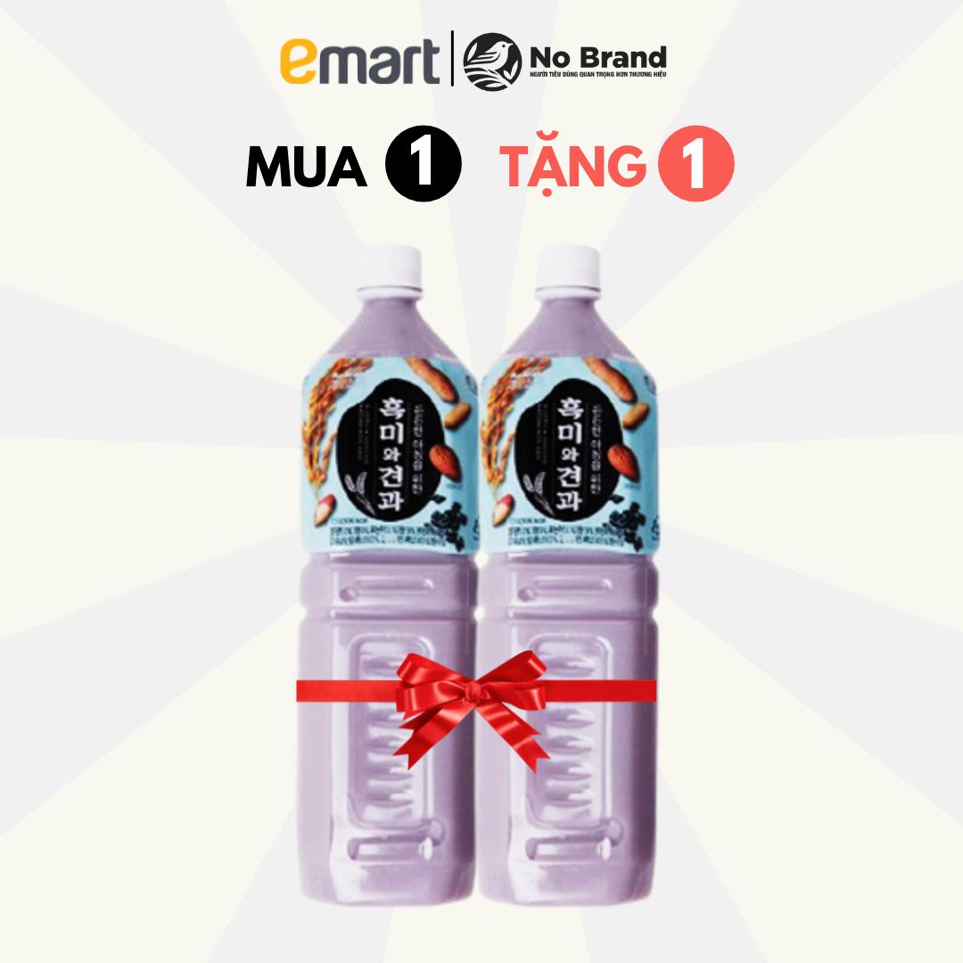 [MUA 1 TẶNG 1] Nước Gạo Nếp Than Và Hạt Khô No Brand Hàn Quốc Chai 1.5L (Date: 20/10/2021) – Emart VN