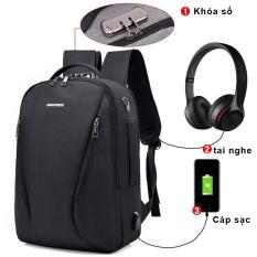 Balo laptop có ngăn chống sốc,mã khóa số chống trộm có khe sạc USB và lỗ luồn tai nghe thời trang PERFECT