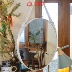 Gương treo tường dây da RIBO HOUSE mặt kính cường lực nội thất trang trí nhà cửa D40cm RIBO41