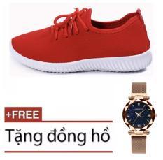 Giày thể thao vải, giày phối vải, giày sneaker trơn nam nữ siêu êm chân size 36-37-38-39-40-41 (Hàng có 2 màu đen đỏ) + TặngĐồng hồ nữ dây thép lụa nam châm sang chảnh