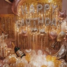 Set bóng trang trí sinh nhật Happy birthday +30 bóng nhũ + 4 bóng tim sao+bóng hình ly, chai +2 rèm kim tuyến