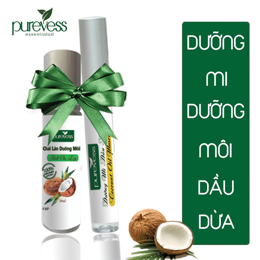 Mascara dưỡng mi và dưỡng môi dầu dừa Purevess giúp mi dài và dày, giúp môi giảm thâm. Coconut Oil Mascara & Lip Balm.