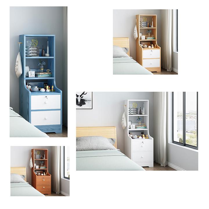 Tủ Đầu Giường, Tủ Gỗ, Tủ Kệ Đầu Giường Phòng Ngủ Có 2 Ngăn Kéo 3 Kệ kích thước 40x35x118cm