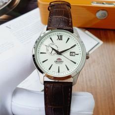 Đồng hồ Nam Orient Automatic FAL00006W0 Mặt trắng,Lịch ngày-Máy cơ tự động-Dây da nâu cao cấp-Size 42 mm