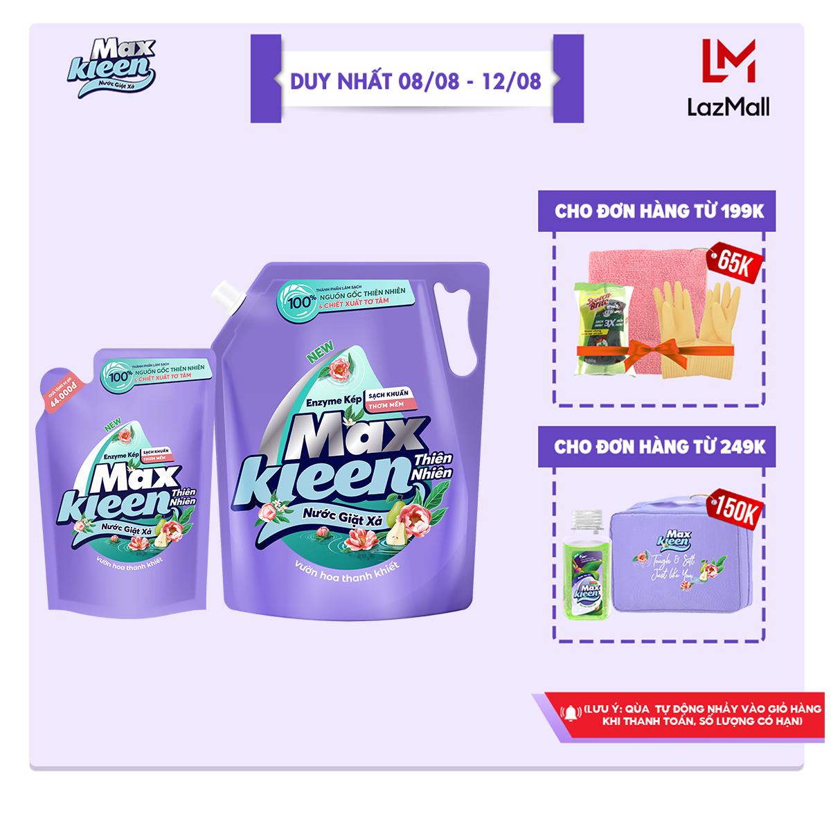 Combo Nước Giặt Xả MaxKleen Thiên Nhiên: 1 túi 2.2kg + 1 túi 600g