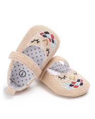 Giày tập đi thêu hình con cú có quai cài cho bé gái – TD9