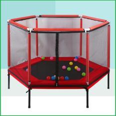 Lều bóng cho bé – Lều bóng trẻ em – Nhà nhún lò xo lục giác có lan can 157x157x80