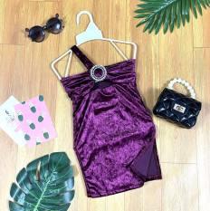 Đầm Nhung Body Dây Xéo Kèm Khóa Tròn Xẻ Tà Bé Gái Thời Trang Sánh Điệu