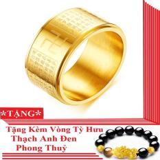Nhẫn xoay BÁT NHÃ TÂM KINH khắc chữ VẠN – Nhẫn đeo may mắn tài lộc – Tặng Vòng đeo tay tỳ hưu