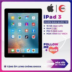 Máy tính bảng Apple iPad 3 – bản 32G/16G Quốc Tế, Ram 1 G, Full HD, Pin trâu 11000 mah, tặng củ zin iPad 12W phụ kiện và ốp lưng MR CAU
