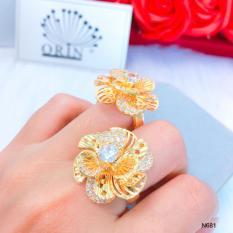 Nhẫn nữ hoa xoáy lớn đính đá thiết kế thời thượng Orin N681