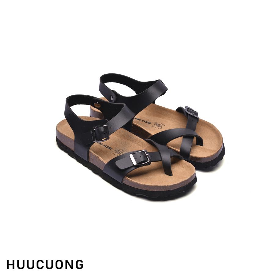 Giày Sandal Unisex HuuCuong xỏ ngón đen đế trấu