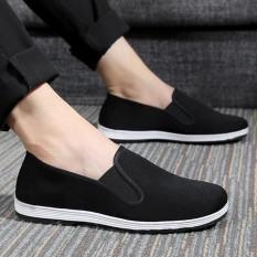 Giày lười vải nam đen trơn thoáng khí giá rẻ