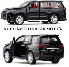 Xe ô tô LX570 tỉ lệ 1:32 màu đen mô hình bằng sắt mở các cửa