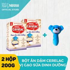 Bộ 2 hộp Bột ăn dặm Nestlé Cerelac 200g Gạo Sữa Dinh Dưỡng + Tặng 1 lục lạc cầm tay
