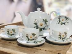 Bộ ấm chén hoa trà Bát Tràng cao cấp