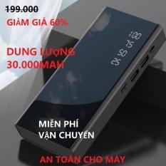 PIN DỰ PHÒNG LCD MẶT GƯƠNG -VÔ PIN NHANH CHÓNG, DUNG LƯỢNG KHỦNG 30000MAH – PIN DỰ PHÒNG 2 CỔNG SẠC NHANH, SẠC CÙNG LÚC 2 ĐIỆN THOẠI
