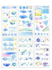 Bộ 6 tấm sticker dán sổ tay cute hình hoa lá, trang trí sổ lưu niệm – SakuraShop