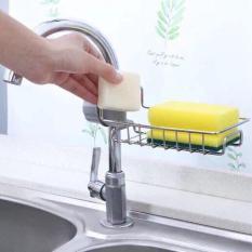 Giá inox đựng lưới rửa bát, cọ xoong, bàn chải, xà bông treo vòi nước bồn rửa bát (không bao giờ hết HOT)