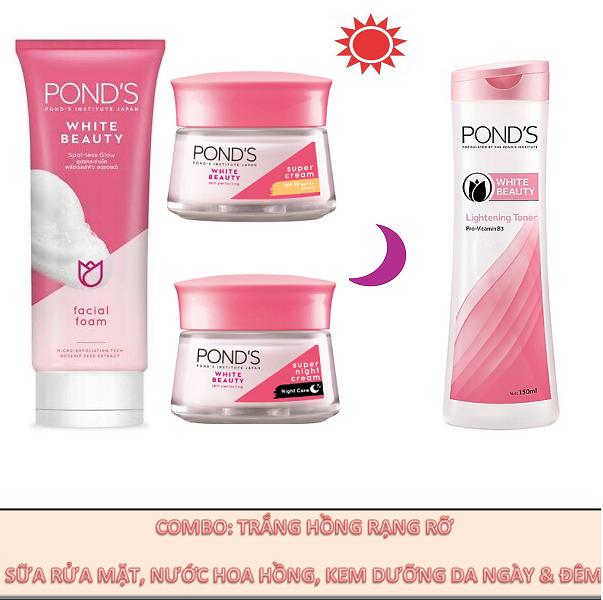 Combo: Pond's Trắng Hồng Rạng Rỡ (Sữa Rửa Mặt, Kem Dưỡng Ngày Và Đêm, Nước Hoa Hồng)